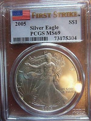 2005 American Silver Eagle 1 Oz MS 69 PCGS Special Flag First Strike Label