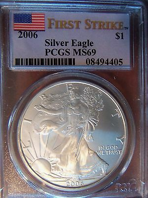 2006 American Silver Eagle 1 Oz MS 69 PCGS Special Flag First Strike Label