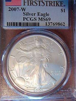 "2007 W 1 Oz American Silver Eagle MS 69 PCGS Special Flag ""First Strike"" Label"
