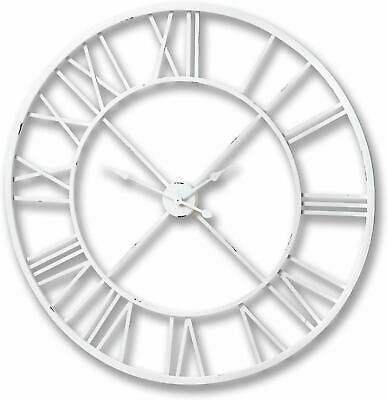 Large 100cm Cut Out White Distressed Metal Skeleton Wall Clock w Roman Numerals