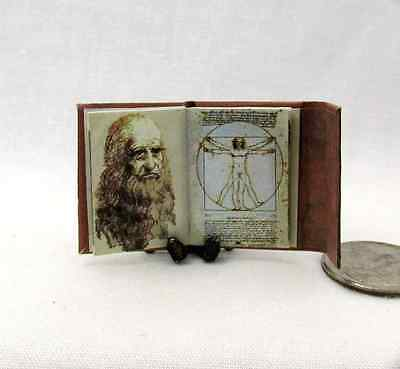 LEONARDO Da VINCI'S Notebook Illustrated Miniature Book Dollhouse 1:12 Scale