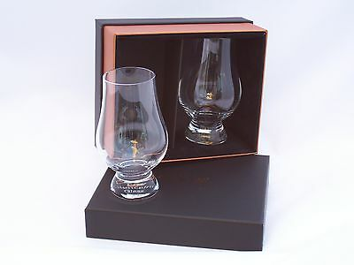 Two Qty  Glencairn Whisky Tasting / Nosing Glasses in New Black Twin Pres Box