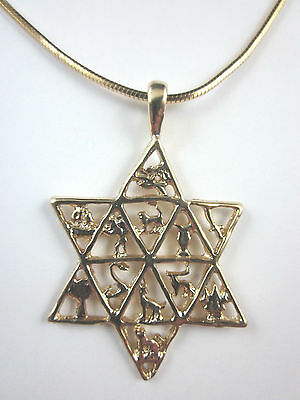 """Gold Plated Star of David Twelve Tribes of Israel Pendant 18"""" Square Snake Chain"""
