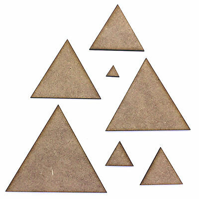 Triangle Craft Shape Blank, Various Sizes, 2mm MDF Wood. Schools, Education