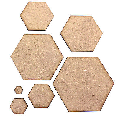 Hexagon Craft Shape Blank Base, Various Sizes, 2mm MDF. RPG Board Game Tile, Bee
