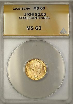 1926 Full Luster $2.50 Sesquicentennial Quarter Eagle Gold Coin ANACS MS-63