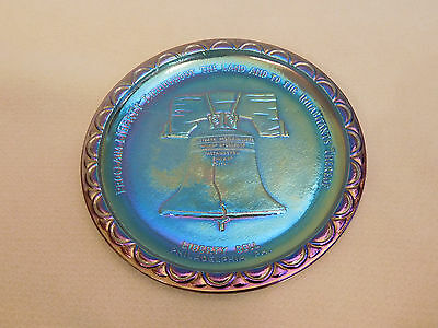 1979 Blue Carnival Indiana Glass, Bicentennial Liberty Bell Commemorative Plate