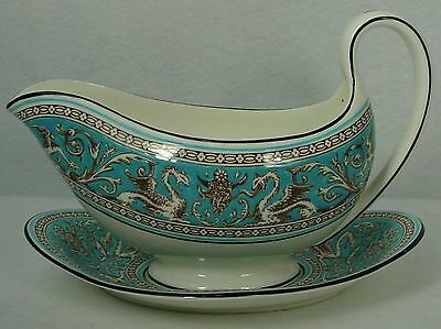 WEDGWOOD china FLORENTINE TURQUOISE W2714 pattern 2-pc GRAVY BOAT & UNDERPLATE
