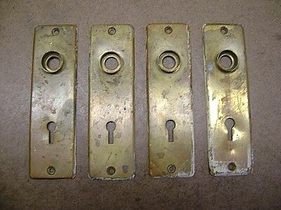 "Vtg Lot of 4 Brass Escutcheon Plates 1 1/2"" by 5 1/2"" Skeleton Keyways Salvaged"