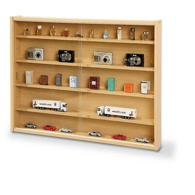Display Cabinet with Glass Doors Collectors Wood Shelves Case Wall Storage Unit