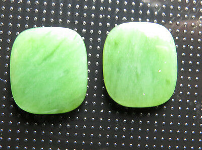 2 Bright green Nephrite JADE 16 x 14 mm antique cushion cabochons (one pair)