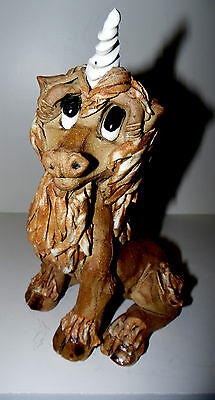 Vintage Unicorn Sculpture Clay Figurine By Max Hindt Signed