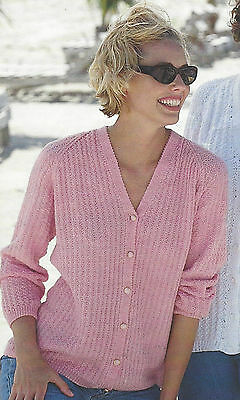 """Ladies Classic Cardigan Knitting Pattern v-neck 32-42"""" DK and 4ply795"""