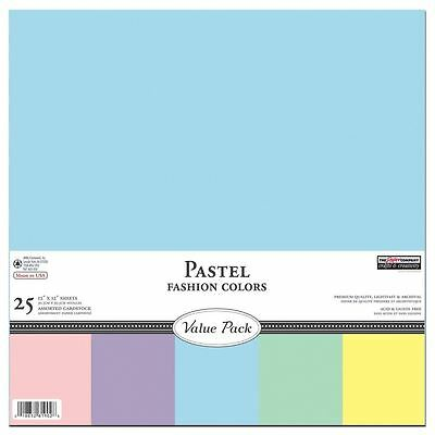 The Paper Company, P61902R, Pastel Cardstock Starter Pack, 12 by 12 (25 Sheets)