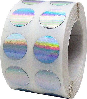 Colored Hologram Dot Adhesive Stickers, 1/2 Inch Round,1000 Labels, 9 Colors