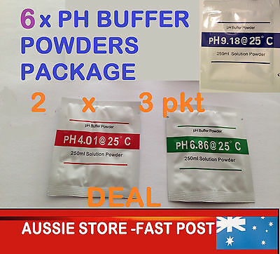PH TEST Powders -METER CALIBRATION SETTING SOLUTIONS/ 6Pkt- pH9.18,4.0,6.86 X 2!