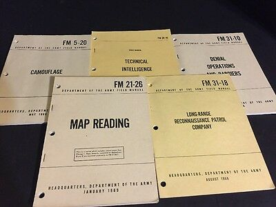 Army Field Manual Lot Vietnam Era Technical, Reconnaissance, Camouflage, More