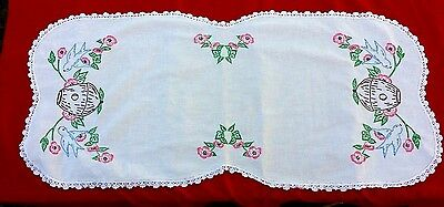 Blue Bird Pink Floral Hand Embroidery Crochet Edge Runner Free Shipping