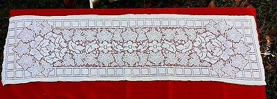 "Vintage Quaker Lace(?) Floral 48"" Long Runner Free Shipping"