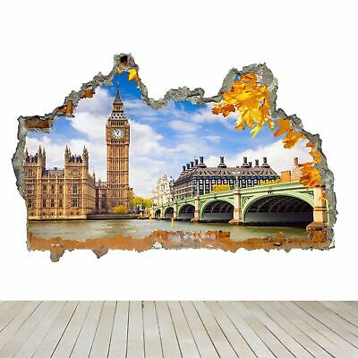 Wall Stickers London Big Ben Bus City Cool Smashed Decal 3D Art Vinyl Room AA471