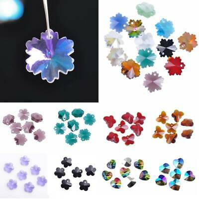 Snowflake/Butterfly/Heart Faceted Glass Crystal Muifa Loose Spacer Bead Pendants