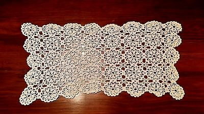 Vintage Hand Crochet Floral Table Runner Free Shipping
