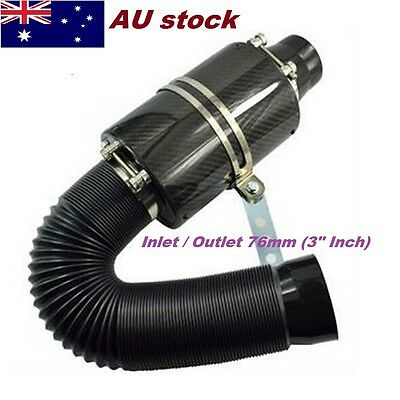 """3"""" Series Filter Box Carbon Fiber Induction Ram Cold Air Intake System 76mm AU"""