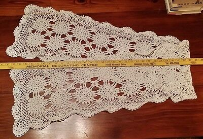 Long Vintage Hand Crochet Pattern Table Runner Free Shipping