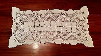Vintage Fisherman's Lace Hand Crochet Table Runner Free Shipping