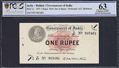 British India 1917 One Rupees Pick-1e W/Perforation Choice UNC PCGS 63