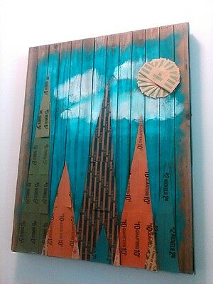Mixed Media Art Mountain Tree Scene Coin Wrappers Mid Century Modern from Artist