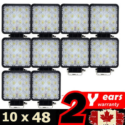 10 x48W Spot Square LED Work Light Bar Driving Lamp Truck Offroad SUV 4WD 3520lm