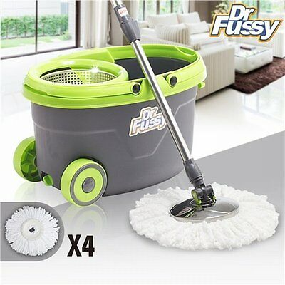 NEW 360° Spinning Floor Cleaner Mop & Spin Dry Bucket with Wheels, 4 Mop Heads