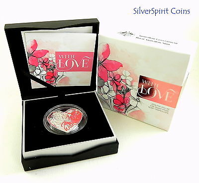 2016 WITH LOVE HEART SHAPE Coloured Silver Proof Coin