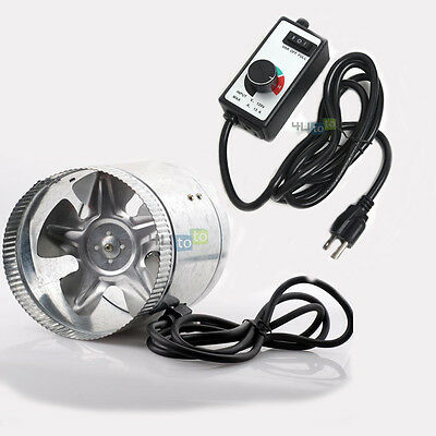 """110V 37W 6"""" Inline Duct Booster Vent Fan w/ Variable Voltage Speed Controller"""