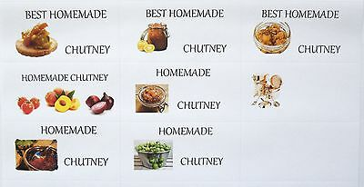 24 x  Decorated Small Blank Chutney Jar labels, Pot/fruit style 64x34mm
