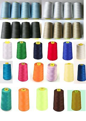 4 x 5000 YARD OVERLOCKER SEWING MACHINE THREAD 120s CHOOSE COLOURS quick Post