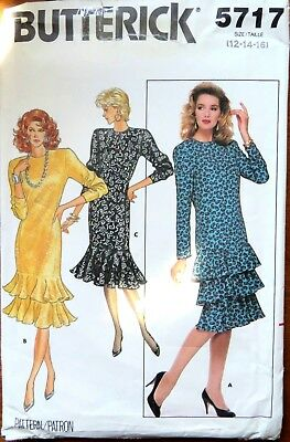 Butterick ladies dress Sewing Pattern no.5717 size 12,14,16 unused
