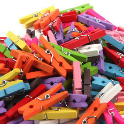 100x Wooden Clothespin Clip Peg for Photo Holder Clothes Craft Artwork 25mm