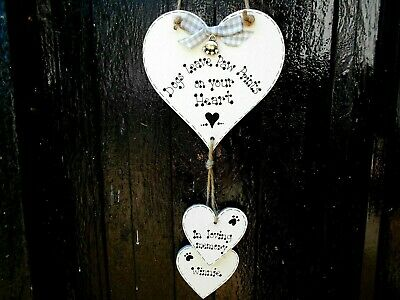 🐾 New Personalised Pet Dog memorial gift plaque heart sign, best friend 🐾