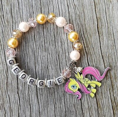 Girls Personalised Name - MY LITTLE PONY FLUTTERSHY Inspired Charm Bead Bracelet