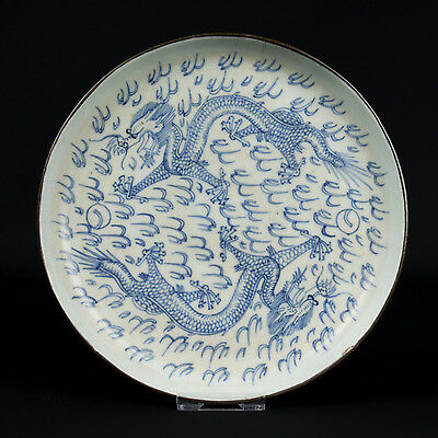 China 19. Jh. Teller A Chinese Porcelain Blue & White Dragon Dish Chinois Cinese