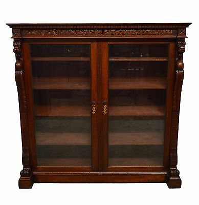 Antique Solid Mahogany Carved Two 2 Door Bookcase
