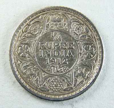 1912 George V India 1/4 Quarter Rupee coin; Old album collection!