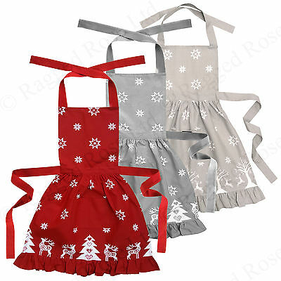 Ragged Rose Christmas Frilly Apron in 100% cotton
