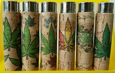 6 x Clipper Lighter Cork Cover/Case - Weed Leaf - Hand Sewn x6 pcs