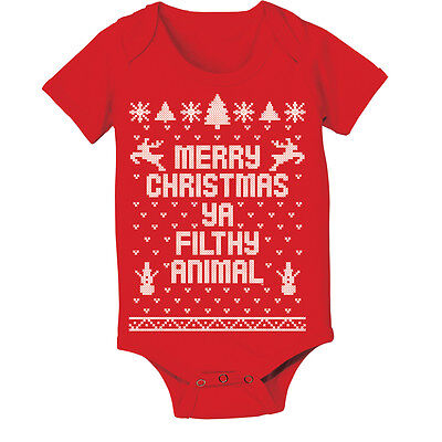 Baby Merry Christmas Ya Filthy Animal Cute Outfit Holiday Top Red Baby One Piece