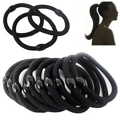 10 Hair Bobbles Elastic BLACK Band Ponytail Ties Stretchy Girls Rubber Holder UP