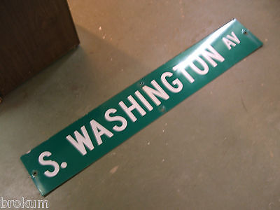 "Large Original S. Washington Av Street Sign 54"" X 9"" White Lettering On Green"