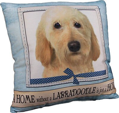 Labradoodle Pillow 16×16 Polyester Yellow